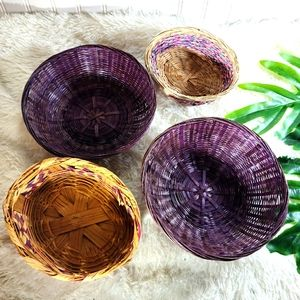 Vintage Boho Purple and Pink Basketwall 4pc Set